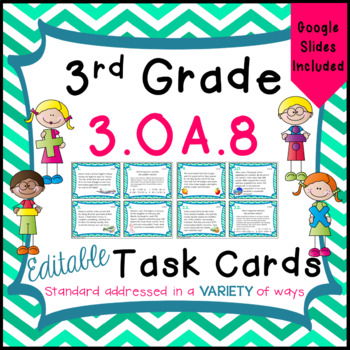 3.OA.8 Task Cards for Third Grade Math Common Core - Multi