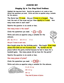 3OA8 - Worksheets to Learn and Practice Two Step Word Problems