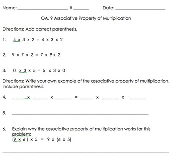3OA.9 Multiplication Properties Bundle