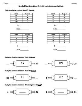 3.OA.9) Patterns:Input/Output-3rd Grade... by Tonya Gent ...