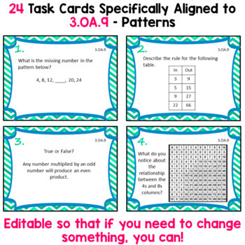 3.OA.9 Task Cards for Third Grade Math Common Core - Patterns