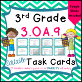 3.OA.9 Task Cards for Third Grade Math Common Core - Patte