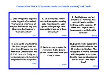 3.OA.A1 Grade 3 Common Core Multiplication Task Cards