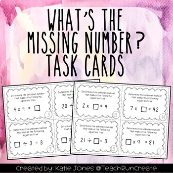 What's the Missing Number? 3.OA.A.4 Task Cards {set of 28}