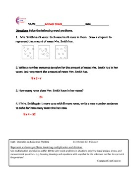 3.OA.A.3 Word Problems Common Core Math Worksheets 3.OA.A.3