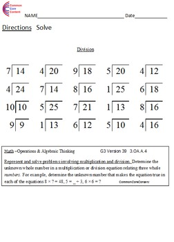 3.OA.A.4 Third Grade Common Core Math Worksheets Multiplication & Division 3.OA4