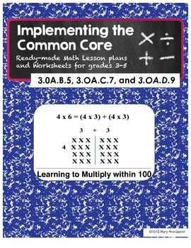 3.OA.B.5, 3.OA.C.7, and 3.OA.D.9 Learning to Multiply within 100