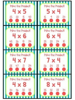 3.OA.C.7 - Poke the Product with 4 as a Factor! Multiplication Poke Cards