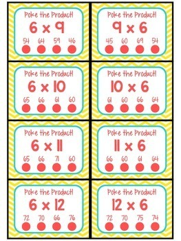 3.OA.C.7 - Poke the Product with 6 as a Factor! Multiplication Poke Cards