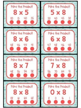3.OA.C.7 - Poke the Product with 8 as a Factor! Multiplication Poke Cards