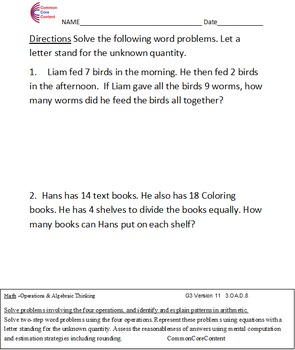 3.OA.D.8 Two Step Word Problems Third Grade Common Core Math Worksheets 3.OA.8