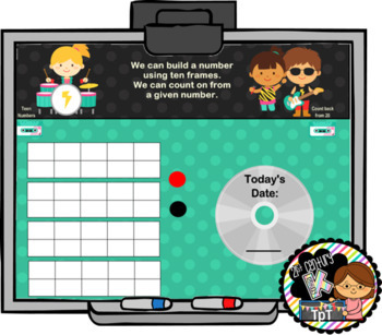 Everyday Interactive Calendar & Organizers for SMART Board PK K 1st ROCK THEME