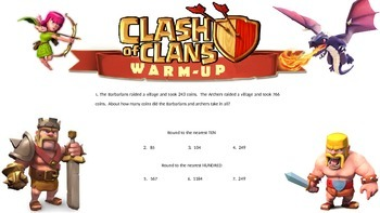 3RD GRADE MATH DAILY WARM UP - CLASH OF CLANS