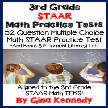 3rd Grade STAAR Math Practice Tests, Plus Bonus Financial Literacy Test