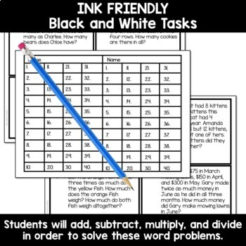 Two Step Word Problem Tasks for Third Grade