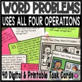 Two Step Word Problem Tasks and Scoot Game Set for 3rd and