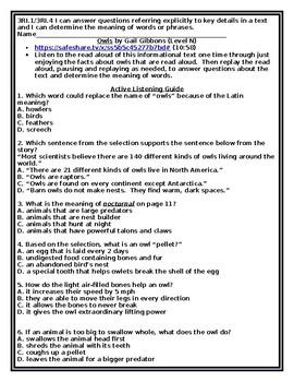 3RI.1 3RI.4 Read Aloud and Question Stems