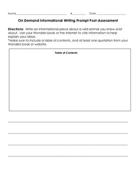 3W.2 Information Writing Pre and Post Assessment