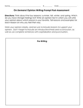 3W.2 Opinion Writing Pre and Post Assessment