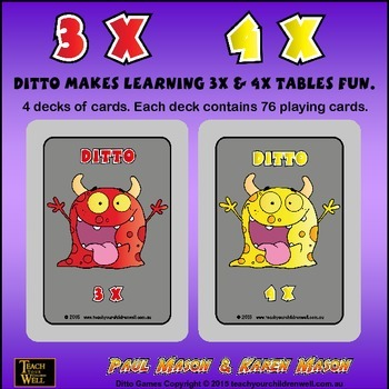 3X and 4X tables fun with Ditto