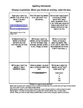 3X3 Spelling Activities Homeowrk