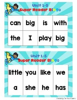3c1. BA Super Hero High Frequency Word Bingo: Units 1-5, 6-10 (2 sets)