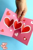 3d Pop Up Card for Valentines or Mother's Day - HEARTS Pap