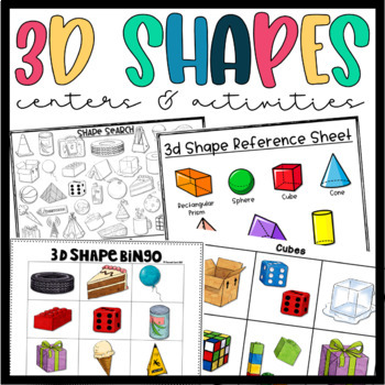 3d Shapes- Sorting, Searching, Counting, Graphing, and Bingo!