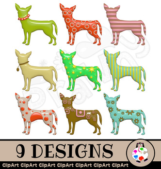 3d Shiny Chihuhua Dog Clip Art