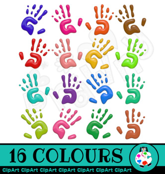 3d Shiny Hand Prints Clip Art