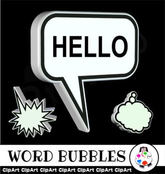 3d Word Bubble Design Elements - Clip Art Set