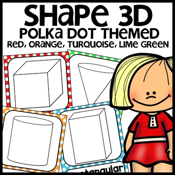 3d shape posters (colors: turquoise, green, red, orange - polka dot)
