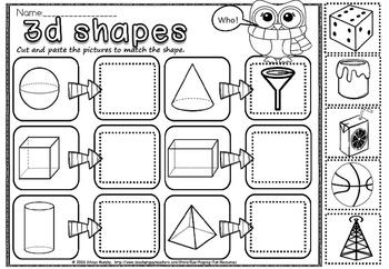3d shapes cut and paste.