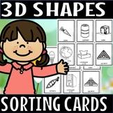 3d shapes kindergarten sorting cards