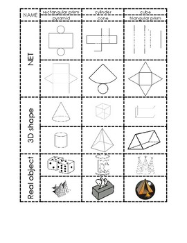 3d shapes, nets, and real objects sorting