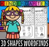 3d shapes kindergarten wordfinds