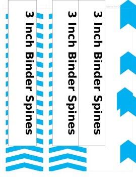 3inchBinderSpines - Blue Chevrons