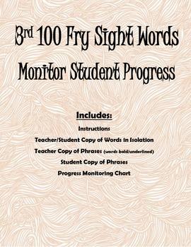 3rd 100 Fry Sight Words- Progress Monitoring Packet