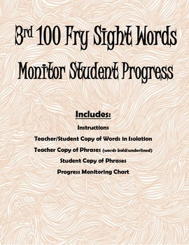 3rd 100 Fry Sight Words- Progress Monitoring Packet