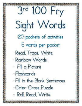 3rd 100 Fry Sight Words- Student Activity Packet
