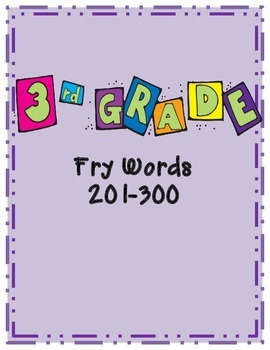 3rd 100 Fry Word Cards- 3rd Grade List