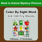 3rd 100 Fry Words: Color by Sight Word - Back To School Mystery Pictures