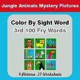 3rd 100 Fry Words: Color by Sight Word - Jungle Animals Mystery Pictures