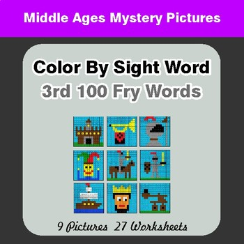 3rd 100 Fry Words: Color by Sight Word - Middle Ages Mystery Pictures