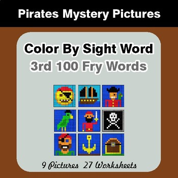 3rd 100 Fry Words: Color by Sight Word - Pirates Mystery Pictures