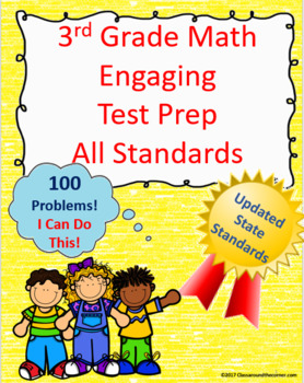 3rd Grade Math Engaging Test Prep: All Standards - 100 Questions