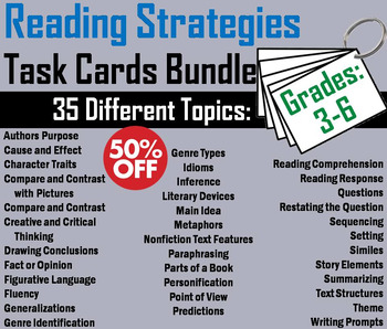 3rd 4th 5th 6th Grade Reading Comprehension Task Cards Bundle