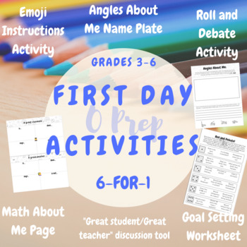 3rd, 4th, 5th First Day of School- Beginning of the Year Activities- 6 for 1!