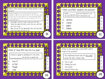 3rd, 4th, 5th Grade Common Core Comprehensive Language Review Task Cards Set 1