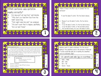3rd, 4th, 5th Grade Common Core Comprehensive Language Review Task Cards Set 3